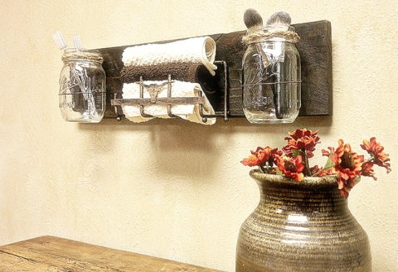 Wall Rustic decor, Storage,Mason Jar Decor , Pallet Wood , Country Decor , Wall Sconce , Bathroom storage, Counter Top Organizer