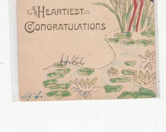 C1905 Undivided Antique Embossed Postcard Stork In Pond,Gold Trim,Fairy,Lilies Heartiest Congratulations