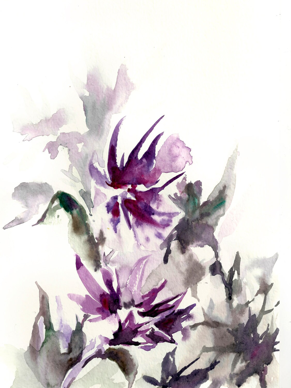 Abstract watercolor painting art print floral by for Abstract watercolour flowers