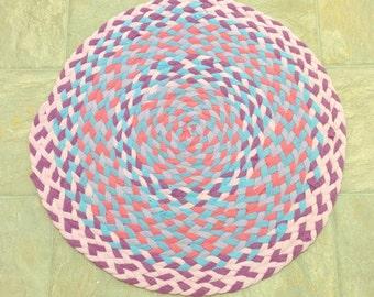Pink Rug, Braided Rug, Upcycled Tshirt Rug, Handmade Rug, Recycled Tshirt Rug, Girls Room Rug, Purple Rug, Round Rug