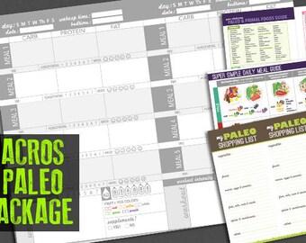 Paleo Food Journal, Log or Diary  - Track Macronutrients, Primal Diet, IIFYM (Digital)