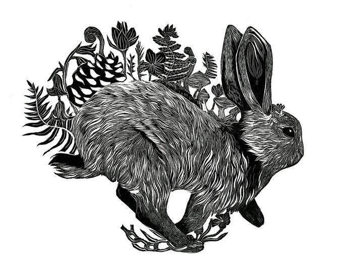 Wild Rabbit - A3 Original Linocut Illustration Print, Bunny, Flowers, Nature
