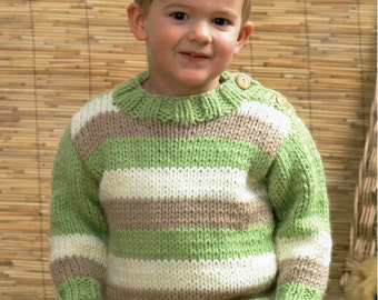 Baby Childs Childrens Chunky Sweater Chunky Cardigan Chunky Jumper 18-26 inch Chunky Bulky Yarn Baby Knitting Pattern PDF Instant Download