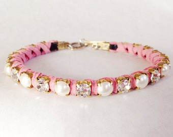 Rhinestone Pearl Pink Suede Pet Necklace
