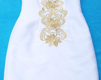 White and Gold Embroidered Dress