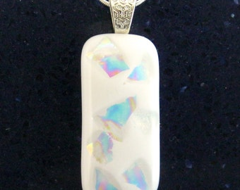White Fused Glass Pendant with Opulent Rainbow Dichroic