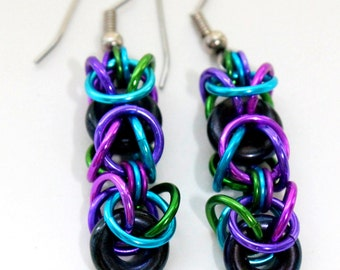 Blue Purple Green Chainmaille Earrings - Aluminum & Glass - Byzantine Glass - Chainmail Jewelry