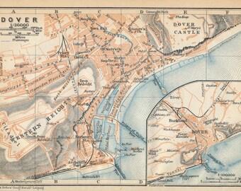 1910 Dover United Kingdom (Great Britain) Antique map