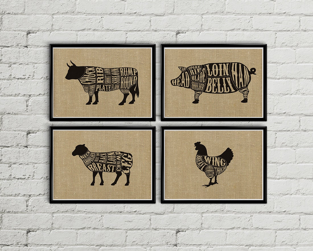 Farm Animal Kitchen Decor Butcher Chart Etsy
