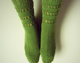 Hand knitted, green socks with a touch of sparkle for women.