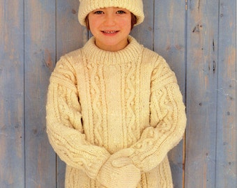 Childrens Aran Sweater Knitting Pattern Childs Aran Sweater Hat Mitts Aran Jumper Aran Tunic 22-30 inch Childrens Aran Knitting Pattern PDF