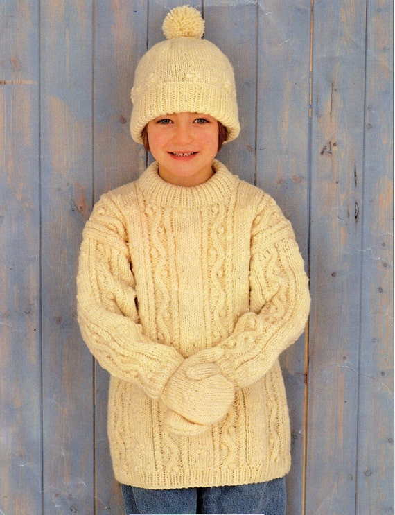 Aran Childrens Knitting Patterns : Childrens Aran Sweater Knitting Pattern Childs Aran Sweater