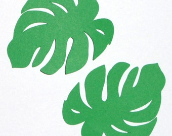 "Ten (10) pieces - 1.75"" X 2"" Monstera Plant Green Leaf PAPER DIE CUT beach luau party photobook scrapbook card making acid lignin free paper"