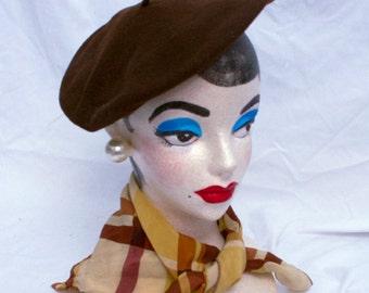 Vintage 50's Brown Wool Beret