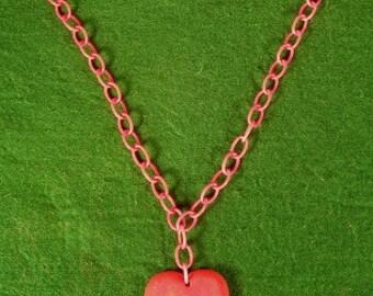Great Vintage Bakelite Heart Necklace