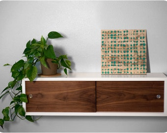 Floating Shelf Cabinet with Walnut Sliding Doors - Mid Century Modern Inspired