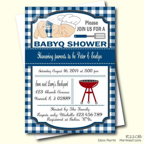 blue barbeque baby shower invitation bbq invite barbecue