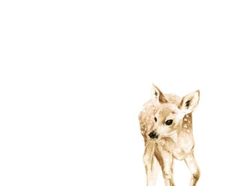 Baby Deer Watercolor PRINT- Woodland Animal Painting - Baby Deer Painting - Baby Deer Watercolor - Fawn Painting - Baby Room - Baby - Home