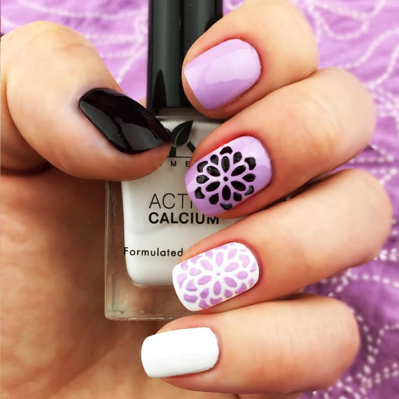 flowers nail art stencils incredible vinyl stencils by unail. Black Bedroom Furniture Sets. Home Design Ideas