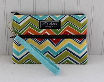 Confetti Chevron Padded Wristlet Mini Purse