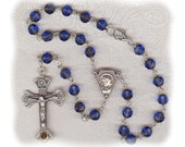Sapphire Picasso Czech Glass Auto Rosary