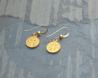 Gold Coin Earrings, Small Gold Earrings, St. Benedict Medal, 14K Gold Filled Earrings, Religious Gold Coin, Gold Cross, Dainty Gold Earrings