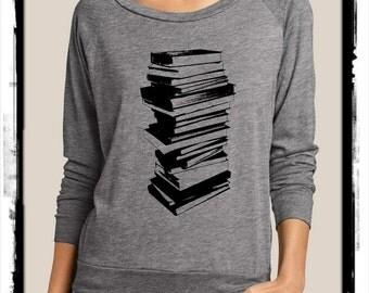 Stack of Books Heathered Slouchy Pullover long sleeve Girls Ladies shirt screenprint Alternative Apparel