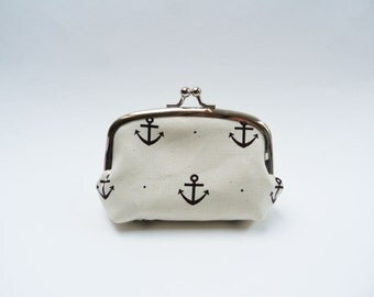 Coin purse, nautical anchors, navy blue and white