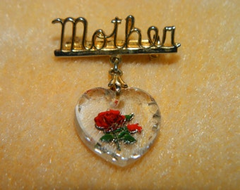 Mothers Day Brooch, Pin, Vintage Mother Pin, Mothers Day Brooch, Glass Rose Heart, Mom, Mother, Best Friend, Flower, Rose Garden, Crystal