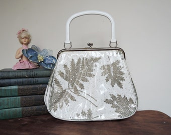 Vintage Purse Glitter and Gold Leaves under Clear Plastic, 1950s Ivory and Gold Print Vinyl