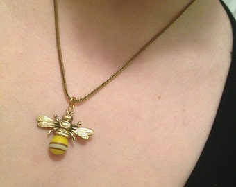 Honey Bee Necklace, Bumble Bee Necklace, Bee Jewelry, Gift for Bee Keeper Bee Lover Bee