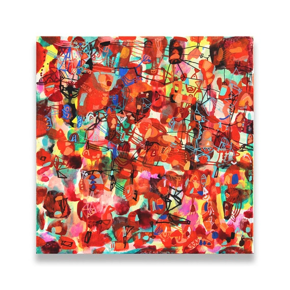 Petite Asie, Paris - modern painting modern art red abstract painting canvas painting mixed media painting red painting