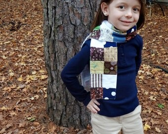 Scarf : Blue, Brown and Green Patchwork Child Size