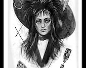 """Lydia Deetz """" I want to be dead too"""" art print beetlejuice goth death rock girl"""