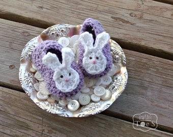 Lavender Baby Bunny Shoes, Crochet Bunny Slippers, Purple Baby Shoes, Bunny Baby Shoes, Baby Bunny Ears, Crochet Baby Mary Janes