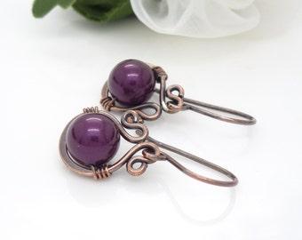 Handmade copper earrings, dark burgundy pink pearl earrings, Wire wrapped Copper jewelry, solid copper pearl drop earrings