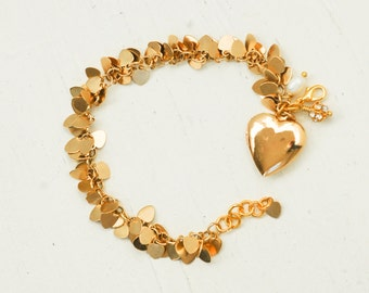 Gold HEART Charm Bracelet Heart Locket LOVE Sweetheart