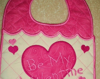Machine Embroidery Design- ITH-Baby Bib-Be My Valentine with Applique Heart for 5x7 or larger hoop.