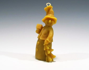 Beeswax Snowman Candle with Gift and Tree