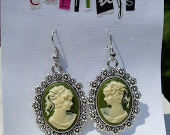 Green Girl Portrait Cameo Silver Setting Earrings Victorian Classy Mirror Images