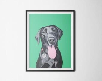 Personalized Pet Portrait - Dog Memorial - Gift for pet lover - Custom Pet Illustration - 8x10 portrait