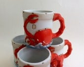 Beach Decor Crab Mugs Set of Four