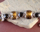Cognac Estate Heavy Stone Bracelet - Bold Sterling Silver with Tigers Eye and Quartz Bracelet