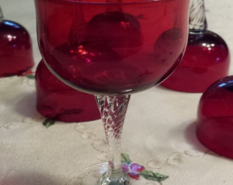Ruby Red  Wine/Champagne Glasses Clear Twisted applied Stems Set of 8 in Beautiful condition