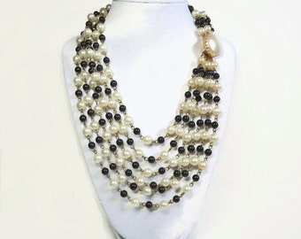 6 Strand Gold Chain Link Beaded Necklace with Pearls & Black Beads Ending in Decorative Button Clasp Closure - Vintage 50's Costume Jewelry