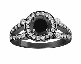 Fancy Black Diamond Engagement Ring 1.58 Carat Certified Vintage Style 14k Black Gold Unique Halo HandMade