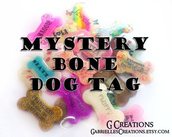 SALE Mystery Bone Dog ID Tag - Glow in the Dark Surprise Handmade Pet ID - Colorful, Glitter, Sprinkles - Dog Collar Accessory - Discount