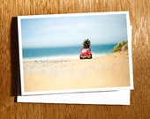 Fiat 500 with pine cone Christmas CARD, Little Red Car xmas card, Fiat 500 Christmas Card, Photo Card, Beach Christmas Card, Australian Xmas