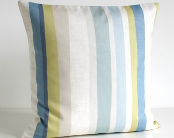 Stripe Cushion Cover, Blue Pillow Cover, Blue Pillow Sham, Pillow Covers, Accent Pillow, Couch Pillow Cover - Scandi Stripes Duck Egg