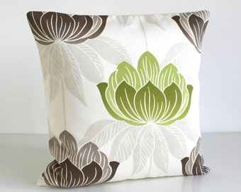 Green Cushion Cover, 18 Inch Pillow Sham, 18x18 Inch Pillow Cover - Lotus Lime